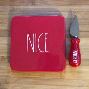 "Rae Dunn Red ""Nice"" Cheese Plate and Knife"